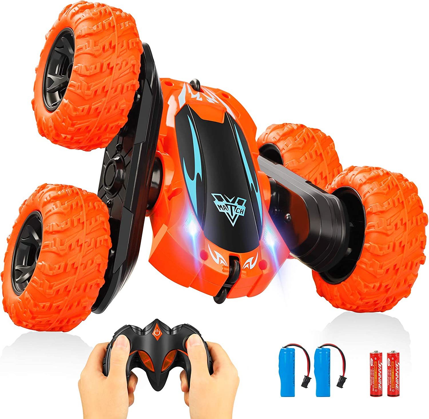 Remote Control Car,2.4GHz Electric Race RC Stunt Car Double Sided 360/°Flips Rotating Vehicles with LED Headlights,4WD High Speed Off Road Truck Kids Toys for 3 4 5 6 7 8-12 Year Old Boys Teens Adults