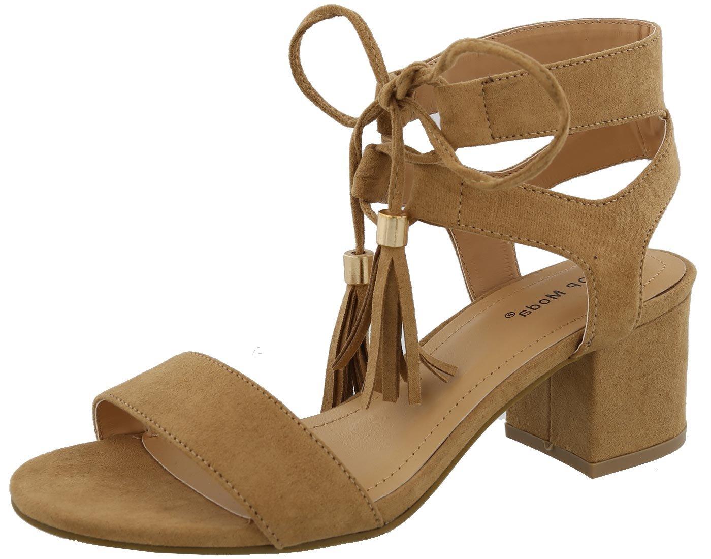 Top Moda Women's Tassel Stacked Block Heel Gladiator Sandal (8 B(M) US, Tan)