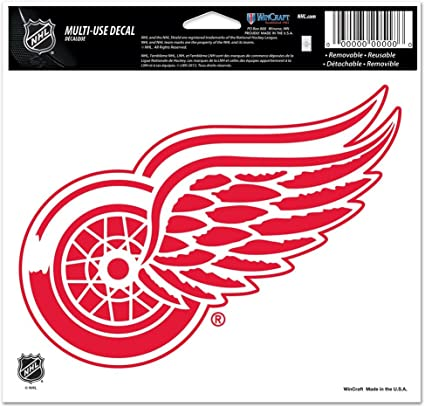 NHL Detroit Red Wings Logo 4 x 4 inch White Decal