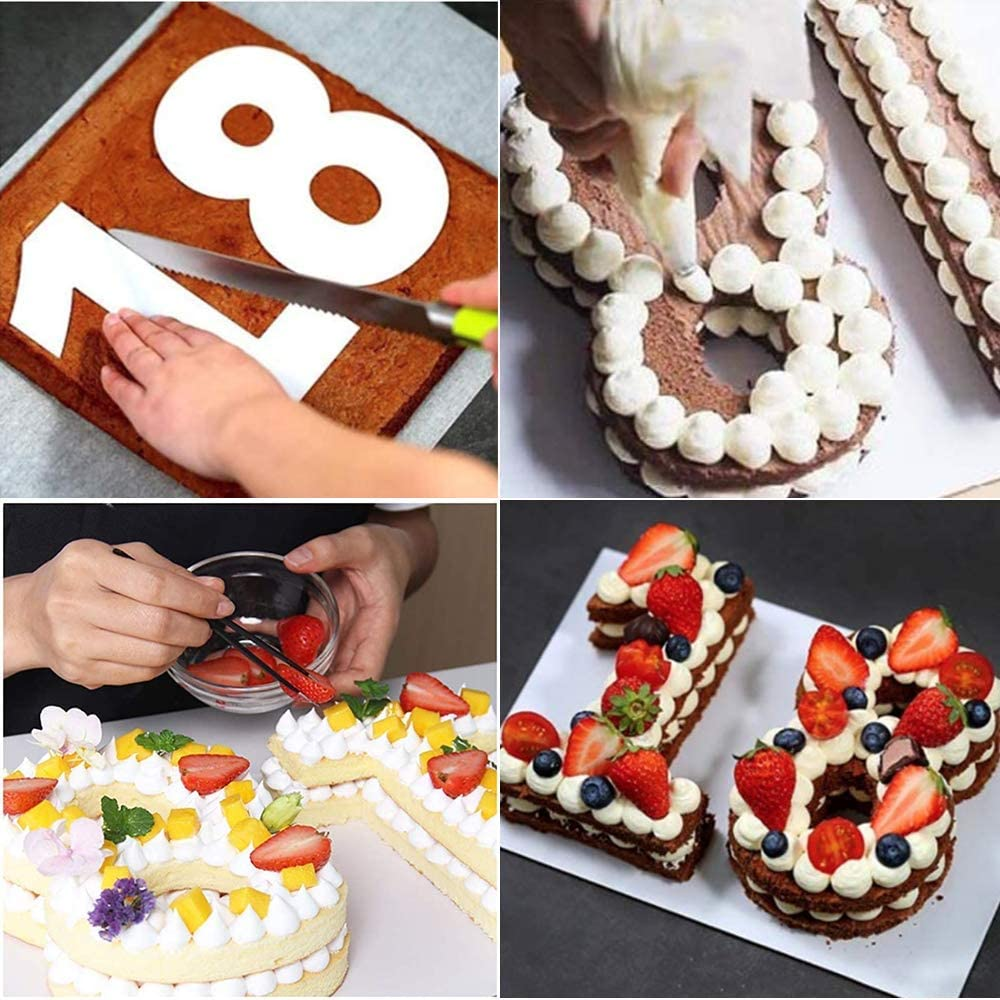 CAQIKRIG 0-9 12 Inch Number Cake Mold Stencils Flat Plastic Templates Cutting Number Cake Moulds DIY Baking Cake Mold with 6 Icing Tips Icing Smoother and Pastry Bags for Wedding Birthday Anniversary