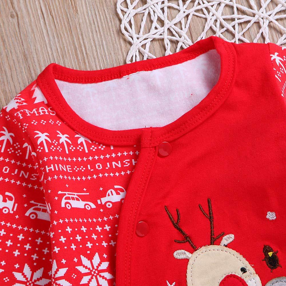 Mameluco de Beb/é con Estampado de Navidad Una Pieza Ropa de Recien Nacido Manga Larga Disfraz Navidad Beb/é Lindo Caliente Oto/ño Invierno Jumpsuit 6M-24M MYONA Traje de Navidad Beb/é