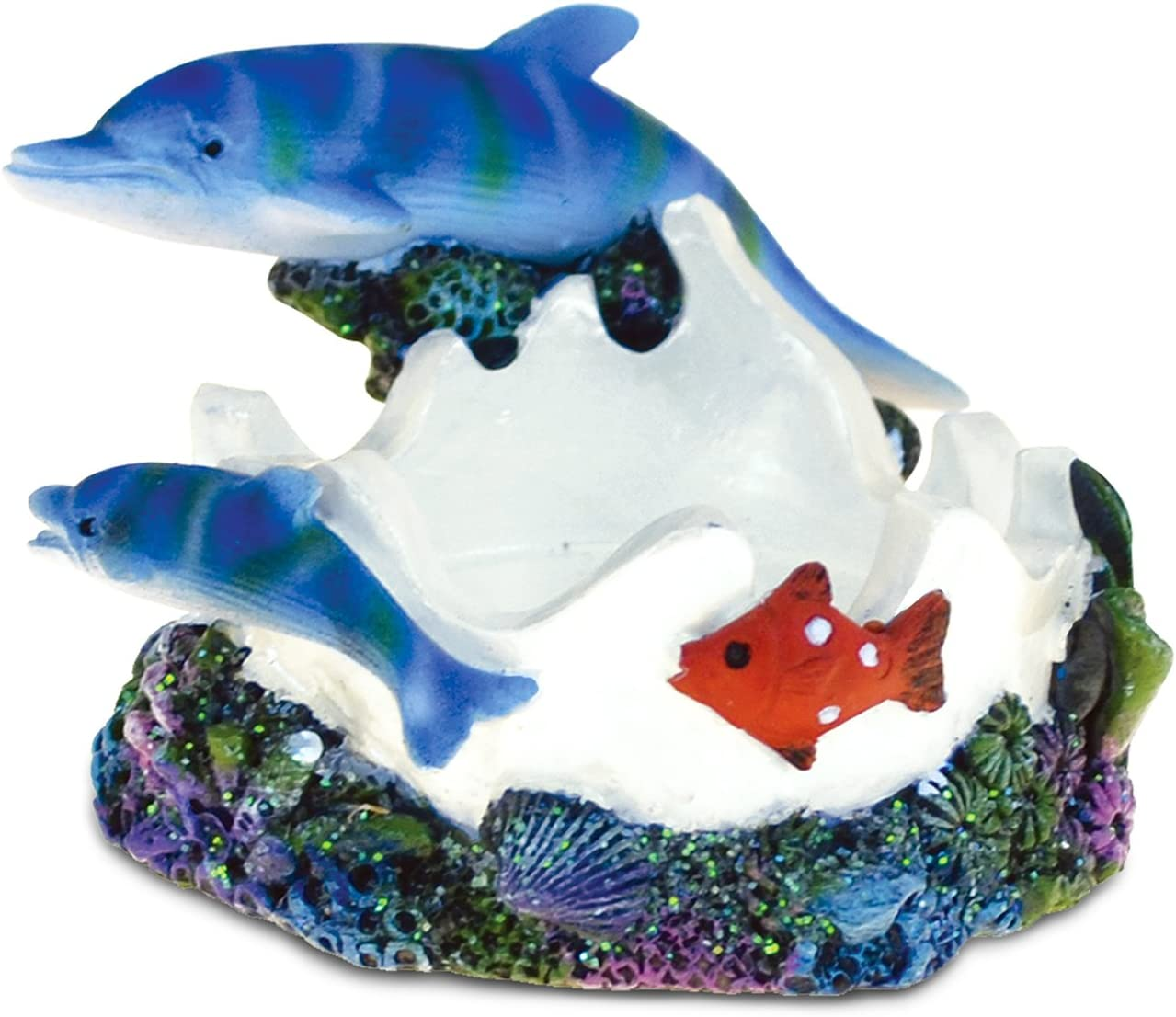 "Puzzled Nautical ""Dolphin Cove Candle Holder"" Sculpture Intricate Art Resin Figurine Ocean & Sea Life Theme Décor Handcrafted Hand Painted Collectible Figure Home Accent Unique Gift Souvenir"
