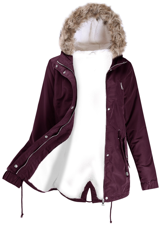 Ladies' Code Faux Fur Hooded Fur Lined Sherpa Warm Jacket w/Detachable Fur Trim Burgundy S Size