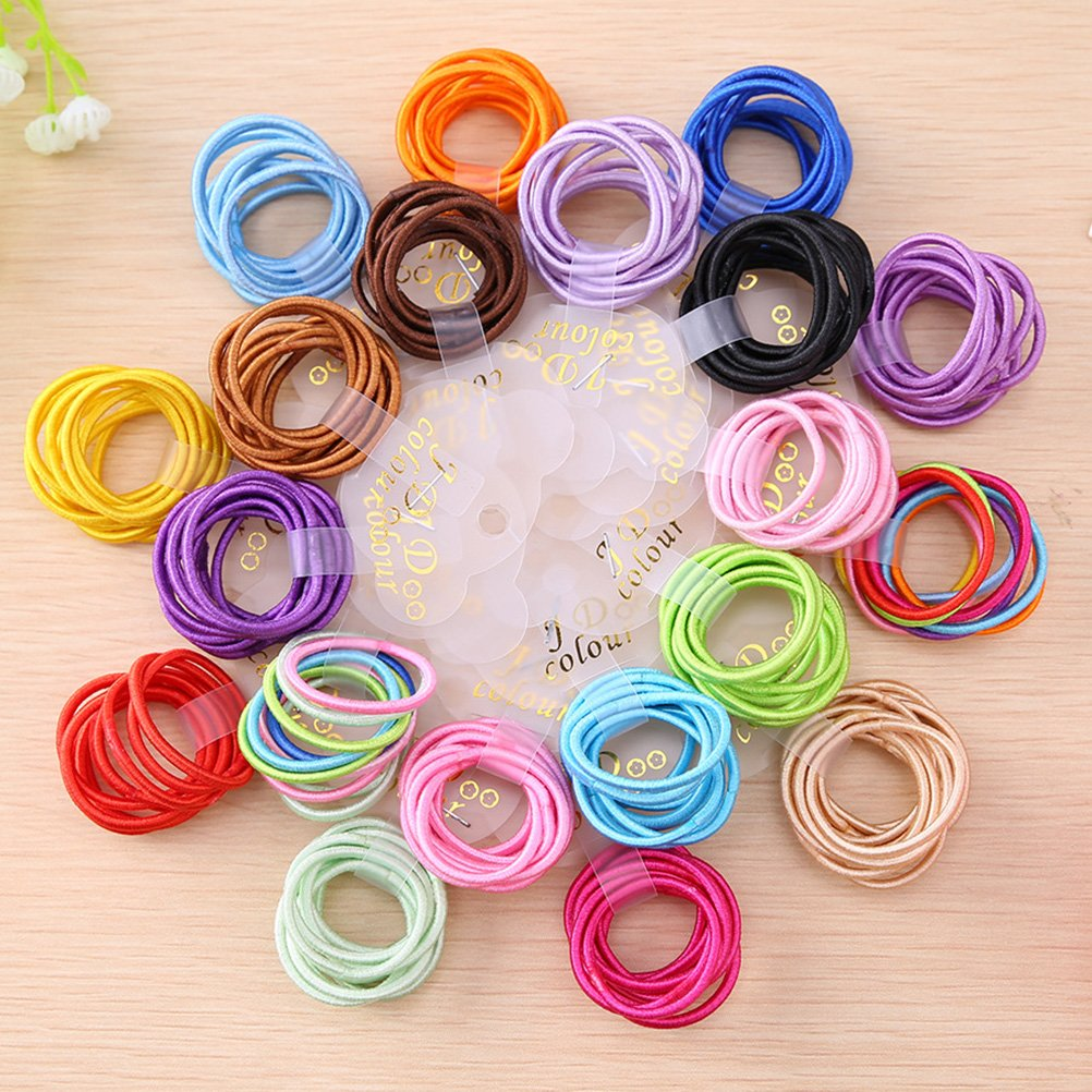 Frcolor 190 Pieces Hair Elastics Hair Ties Hair Bands Bulk Ponytail Holders (19 colors)