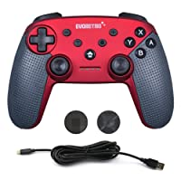 Nintendo Red Switch Controller Wireless Pro Bluetooth for Switch Console PC Gamepad Remote with Gyro Axis by EVORETRO