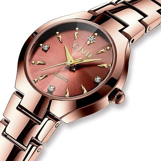 Relojes Mujer Reloj de Acero Inoxidable Clásico de Lujo Analógico Cuarzo para Mujer Vestido de Moda Clásico Diseñador Simple Relojes para Mujer Marron ...