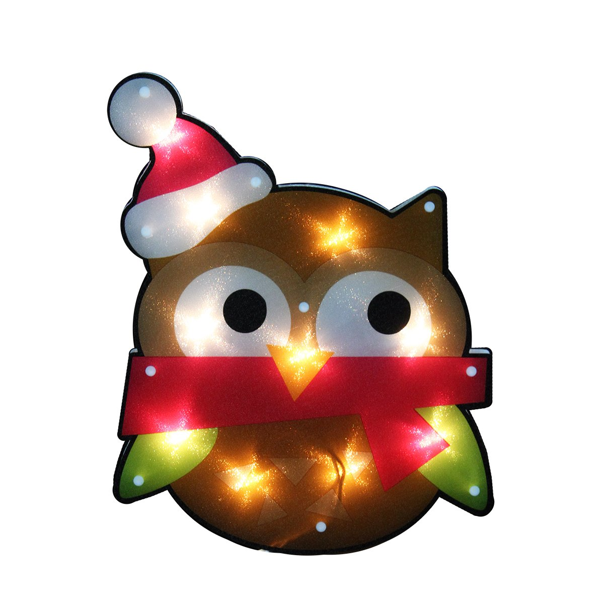 Northlight Lighted Shimmering Owl with Santa Hat Christmas Window Silhouette Decoration, 15''