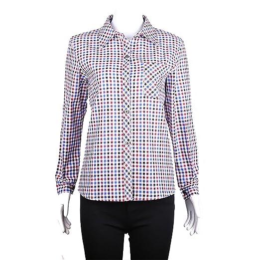 34d79bfad4b Image Unavailable. Image not available for. Color  Luckywe Womens Lapel Plus  Size Plaid Pocket Equipment Button-Front Blouse ...