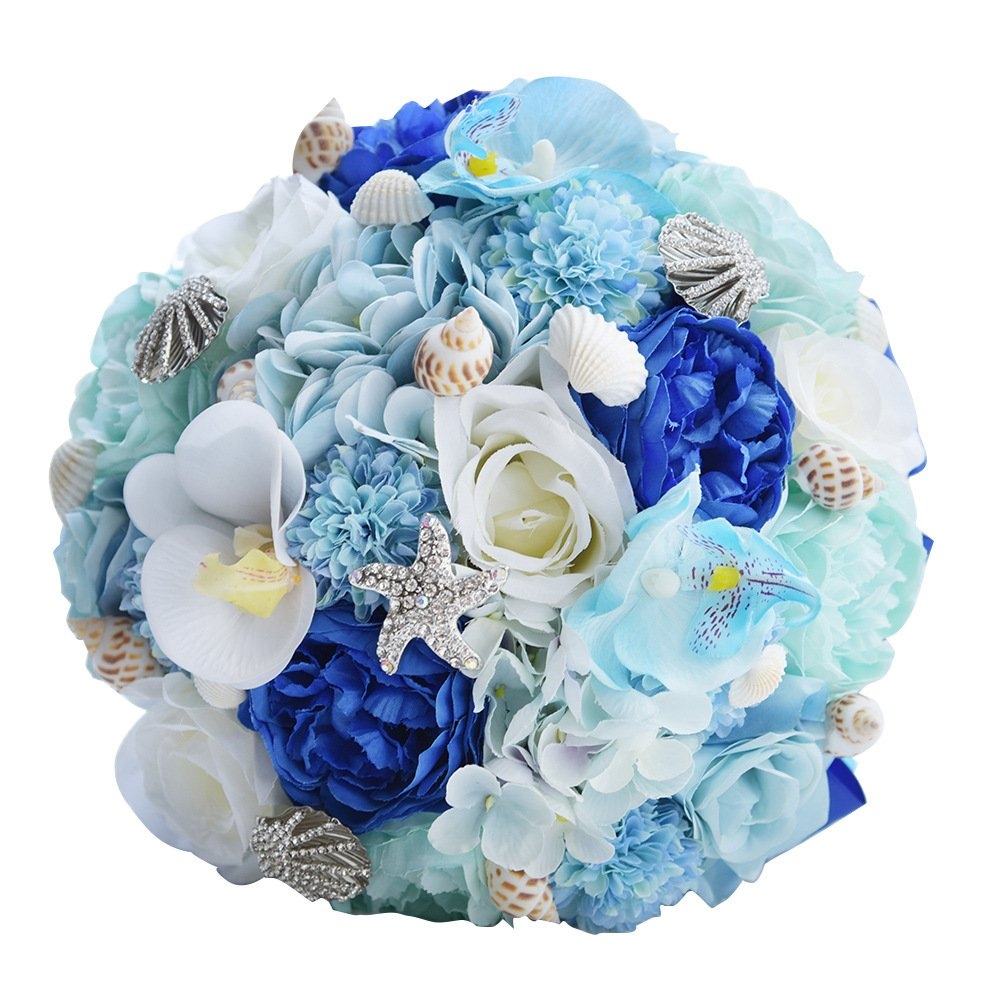 Beach Themed Wedding Bouquet Blue And White Along With The Shells
