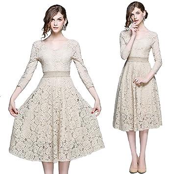 AJOG Vintage Floral Vestido De Encaje De Las Mujeres Con Cuello En V Cintura Alta 3