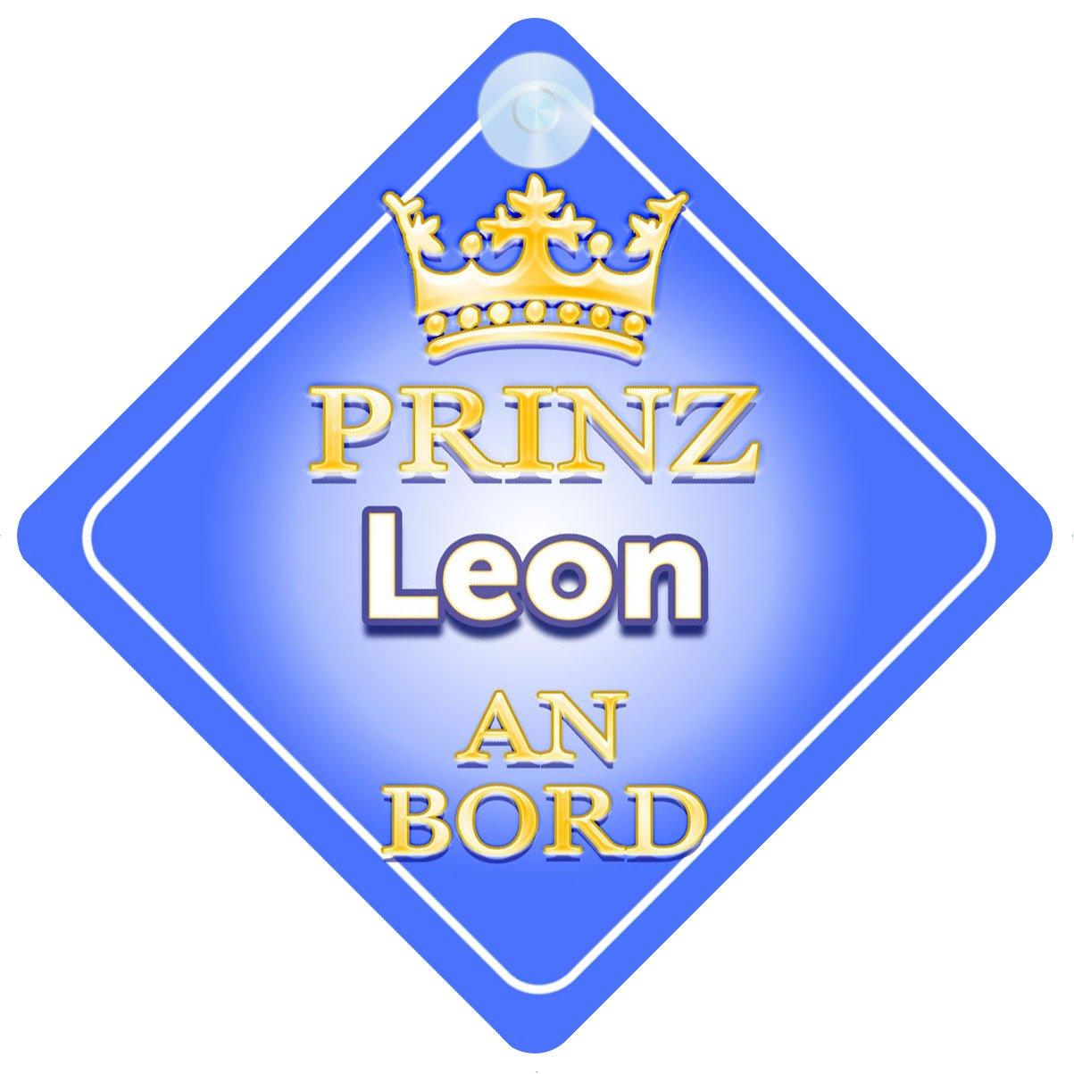 Prinz Leon An Bord mit Krone Personalisierte Autokennzeichen Neues Baby Junge Baby on Board Autoschild /… Pr/äsentieren Kind Geschenk