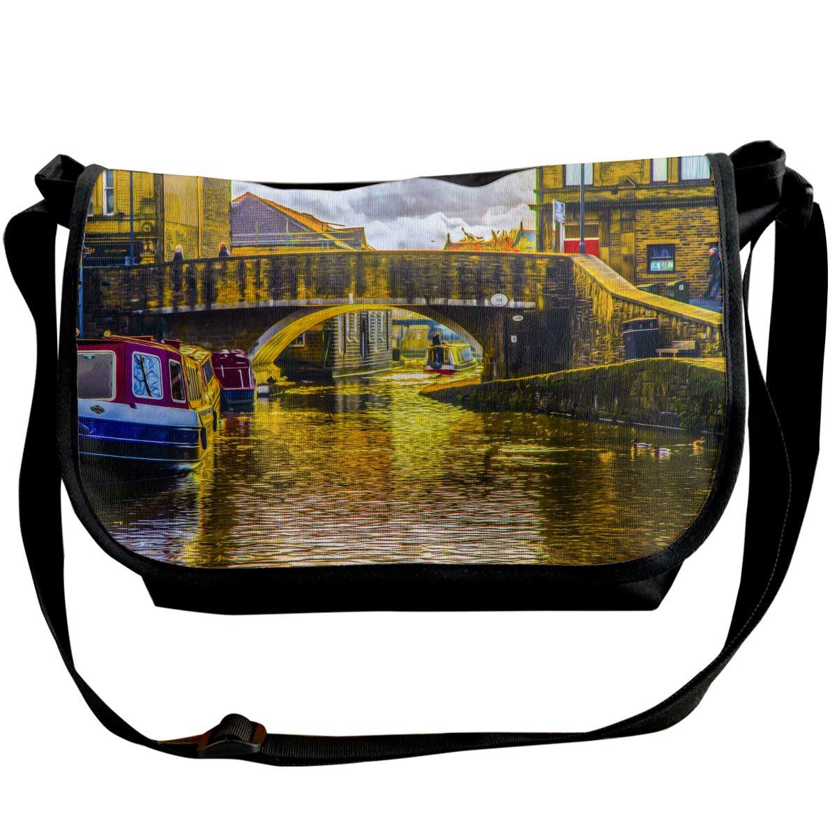 XIANGXIANG SHOP Houseboat On River Oil Painting Fashion Unisex Casual Popular Outdoor Sling Bag Messenger Bag Shoulder Bag
