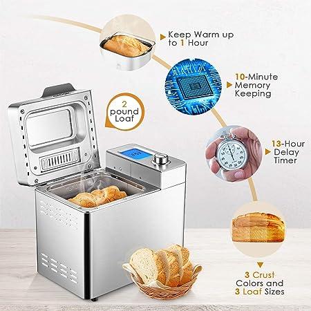 Amazon.com: Aicok Máquina de pan de acero inoxidable, 2LB 25 ...