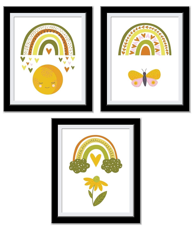 Rainbow Wall Decor - Girls Room Decor Art - Warm and Vibrant Colors - Rainbows Hearts and Lots of Magic - 8x10 UnFramed…
