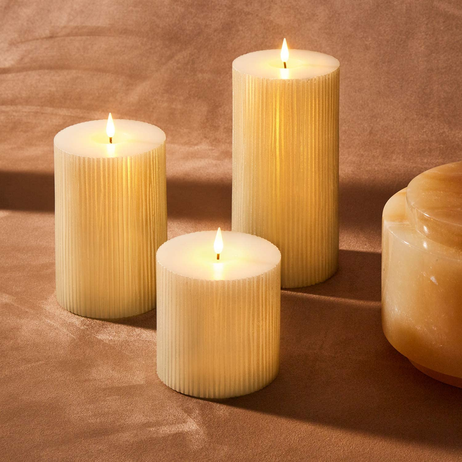 3d Flickering Flameless Candle Set 4 Diameter Large Pillar Candles Battery Powered Shimmering Gold Wax Realistic Flame Mother S Day Gift Spring Decor Remote Control Timer Included Set Of 3