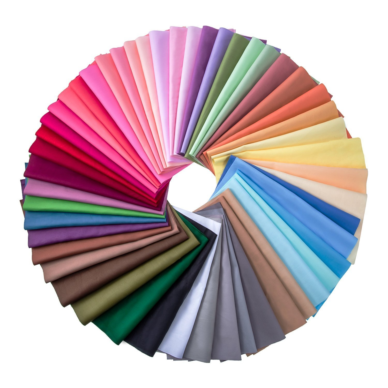 50 Pieces Multi-Colors Fabric Patchwork Cotton Mixed Squares Bundle Sewing Quilting Craft 10 x 10 cm 50 Colors