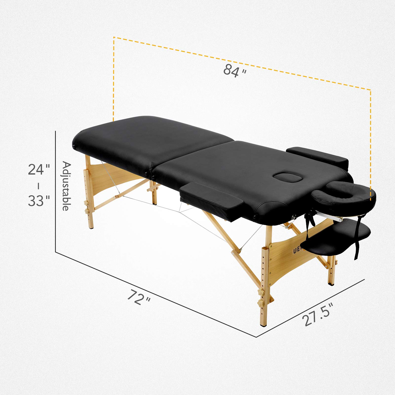 Uenjoy Massage Table 84'' Professional Folding Massage Bed Deluxe Model with Extra Width, Ultra-thick Sponge, PU Leather Surface & Additional Accessories, 2 Fold, Black by Uenjoy (Image #8)