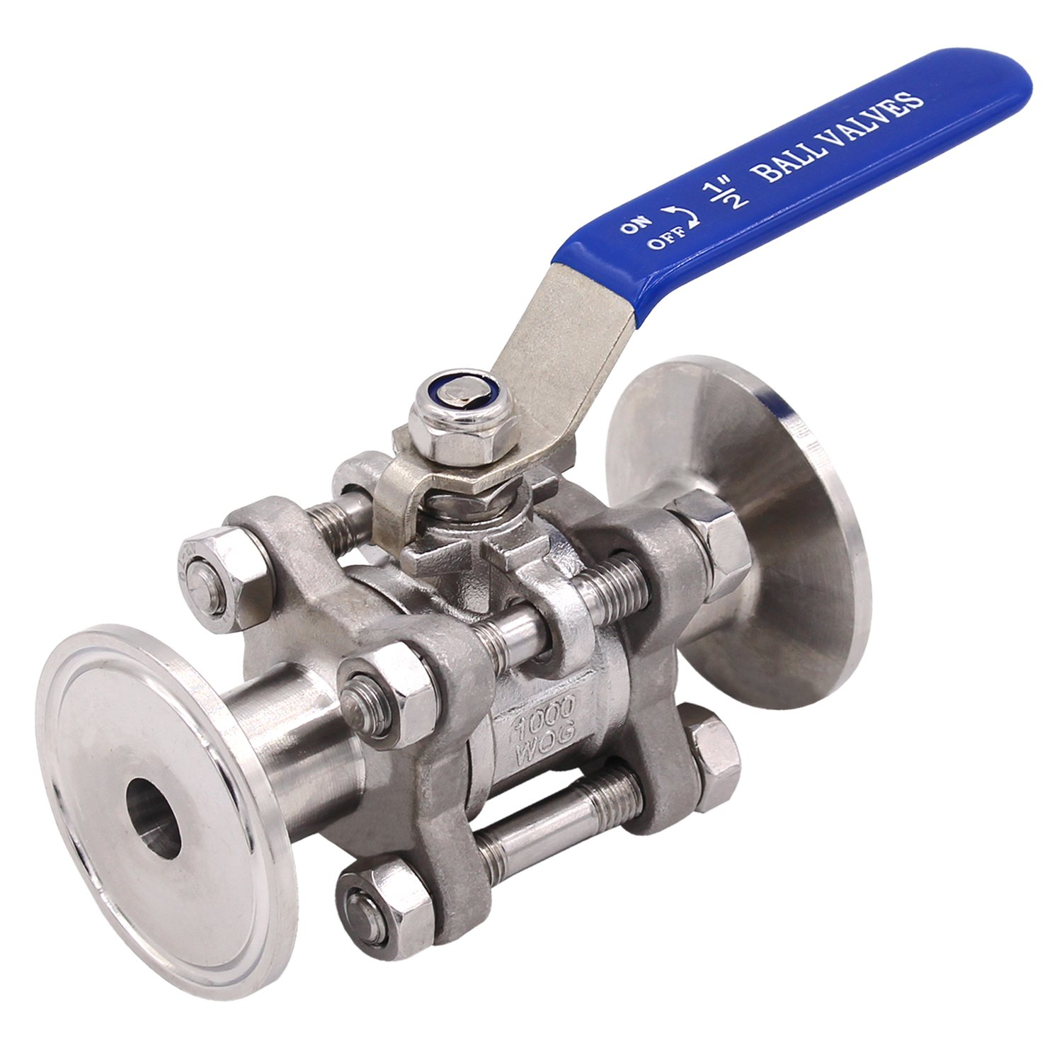 Dernord Sanitary Ball Valve Fits 1.5'' Tri-Clamp Clover Stainless Steel 304, PTFE Lined, Two Way & Three Piece (1/2 Inch Tube OD Quick Clamp)