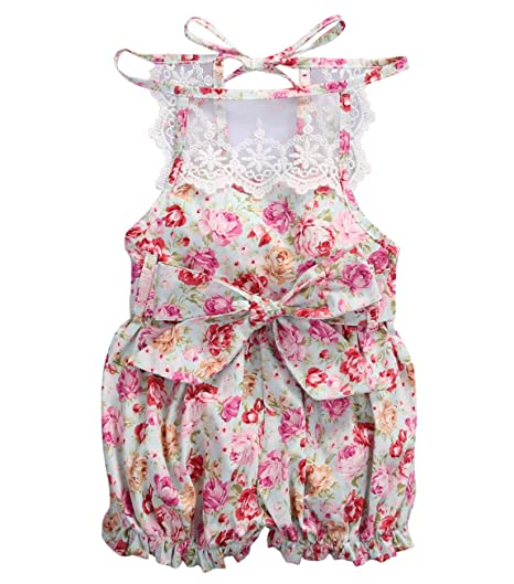 caab9c08caf Baby Girls Lace Cotton Floral Rompers Toddler Sleeveless Jumpsuit Sunsuit  Outfits (3-6M