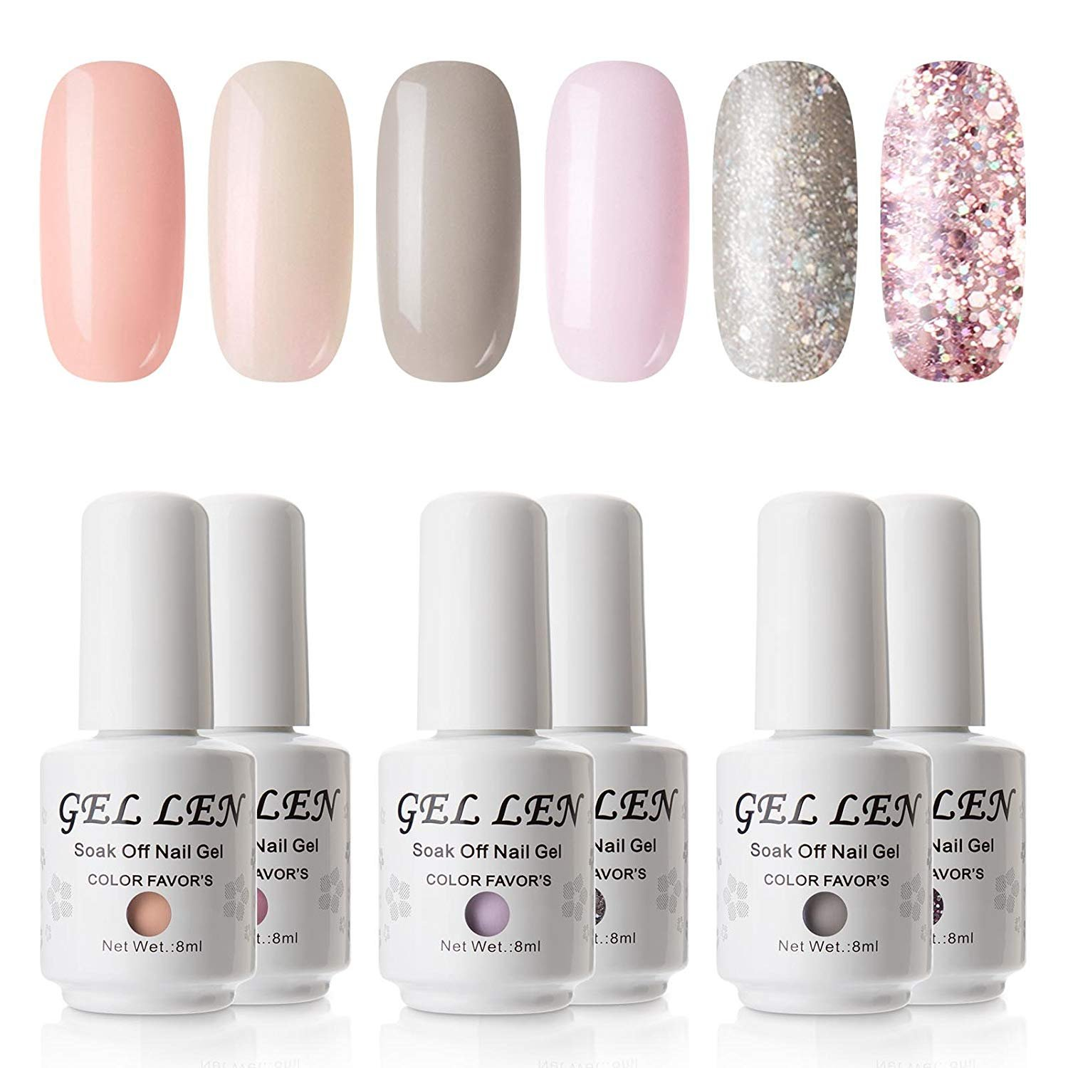 0d31ff090cd Gellen Gel Nail Polish Set - Pure   Glitters Series Popular 6 Colors (Peach