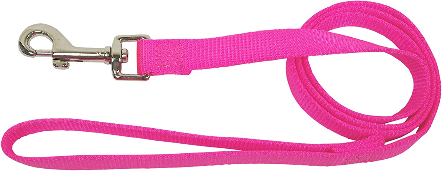 Hamilton Single Thick Deluxe Nylon Lead with Swivel Snap, 5/8-Inch by 6-Feet, Hot Pink