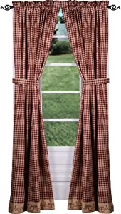 Primitive Home Decors Berry Vine Check Drapery Panels 86 Inch - Barn Red