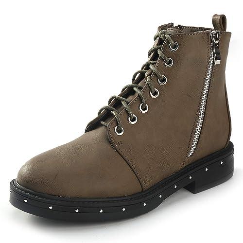 ea6b08a0de3 Alexis Leroy Botin bajo Cordones Mujer Botas Planas Piel Botas Militares  Plataforma con Cremallera Lateral: Amazon.es: Zapatos y complementos