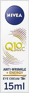 NIVEA Q10 Plus Vitamin C Moisturising Anti-Wrinkle Energy Eye Cream, with Q10 & Creatine for Tired Skin & Fine Lines, 15ml
