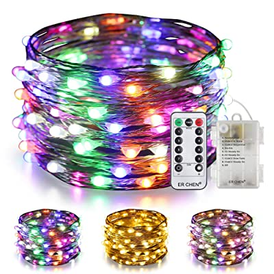 ER CHEN Color Changing Battery Operated Fairy Lights, 33ft 100 LED 8 Modes Silvery Copper Wire Twinkle String Lights with Remote/Timer for Bedroom, Patio, Wedding, Party (Warm White&Multicolor) : Garden & Outdoor