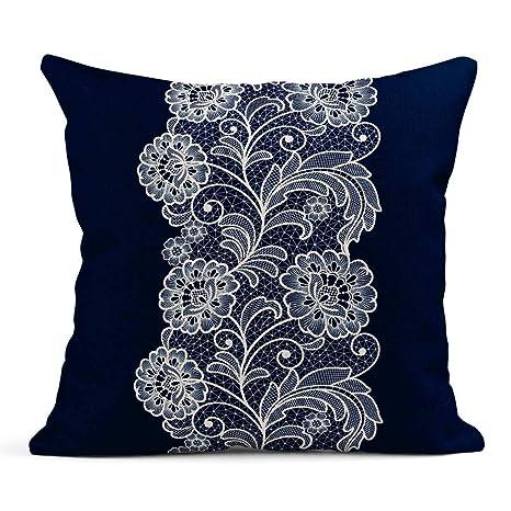 Kinhevao Cojín Crochet Lace Floral Vintage Doily White ...