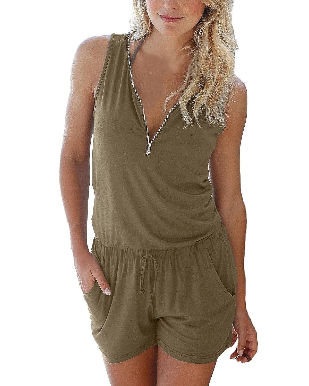 online retailer b64e4 270bb 50%OFF Cassiecy Jumpsuits Damen Kurz Sommer V-Ausschnitt ...