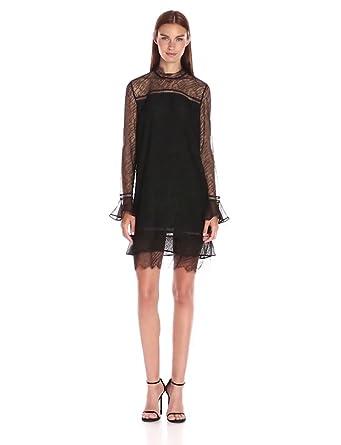 Jonathan Simkhai Women's Long-Sleeve Lace-Ruffle Dress, Black, 0