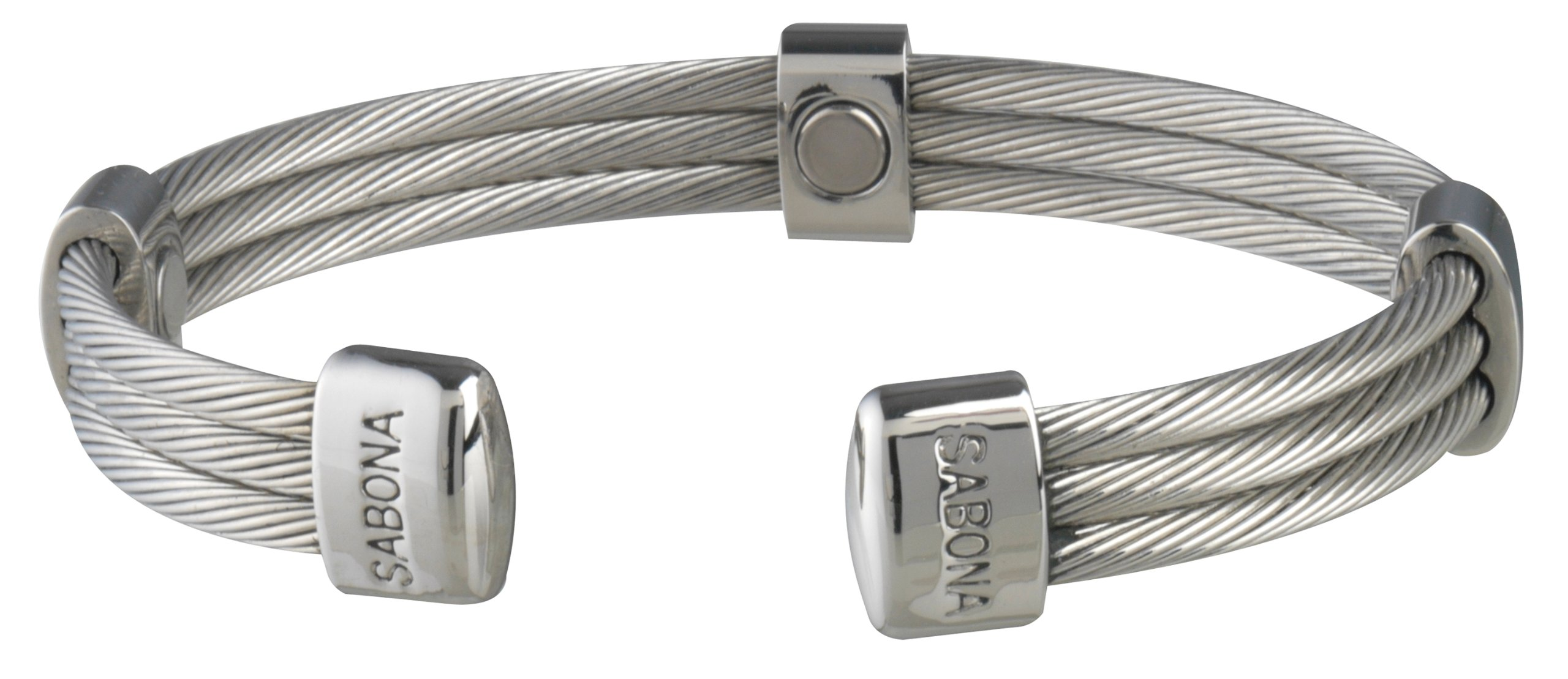 Sabona Trio Cable Magnetic Bracelet (Stainless, Small/Medium /6.5)
