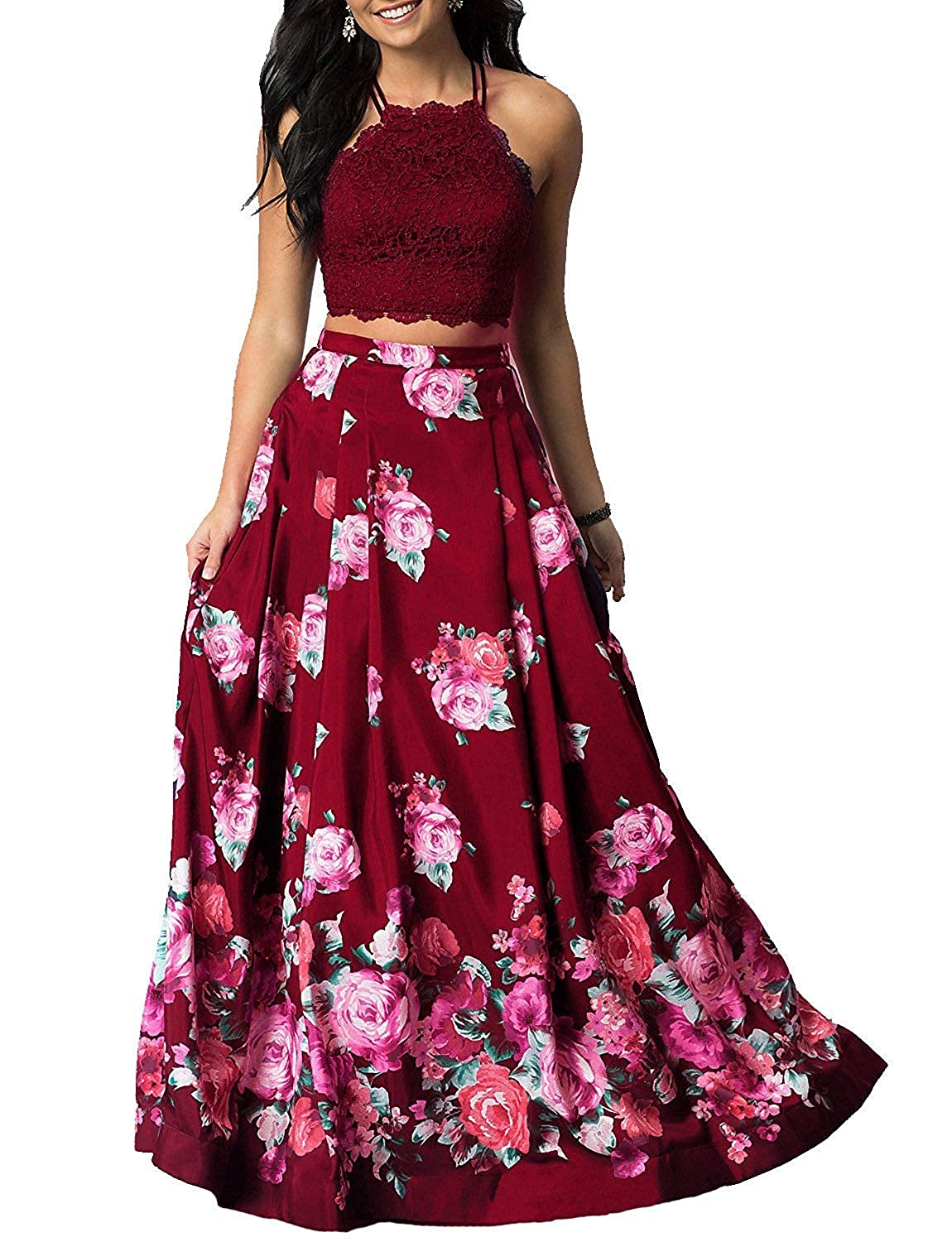 Burgundy Sulidi Women's Halter Two Pieces Floral Printed Prom Dresses Long Satin Pleated Evening Formal Gown C095
