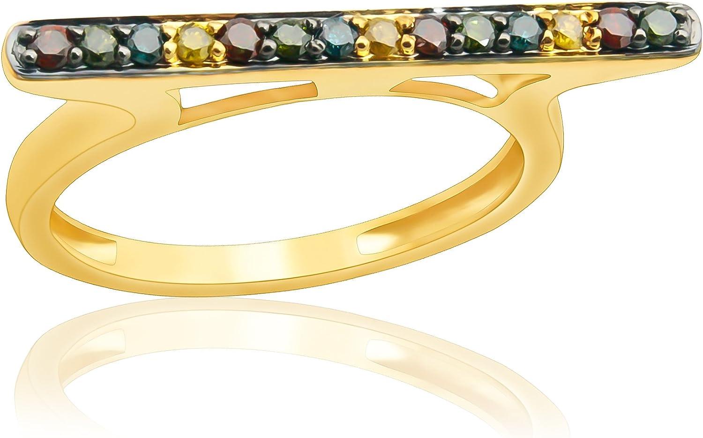 Goldenstar 0.25Ct Round Multi Color Diamond Ring 10k Gold