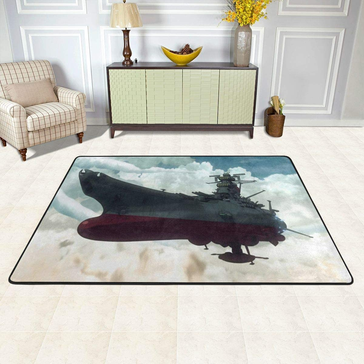 JamesAFlannigan Anime Decoration Space Battleship Yamato Easy to Clean Non-Slip Carpet