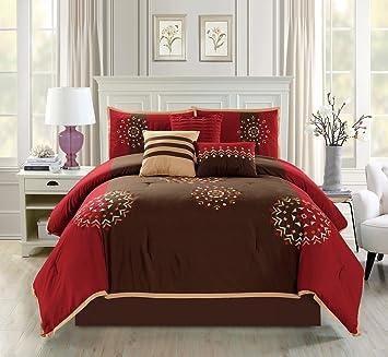 amazon com modern 7 piece embroidered bedding burgundy red brown
