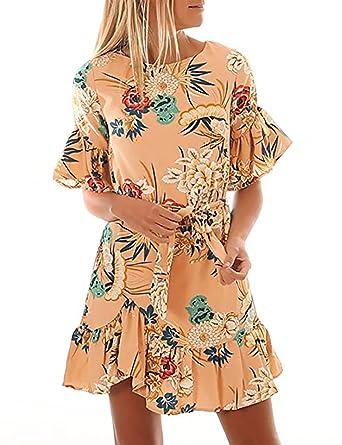 d2f92cb8d4898c Yieune Sommerkleid Damen Blumenmuster Minikleid Knie Langes Abendkleid  Casual Schlank Kurzes Kleid (Aprikose S)
