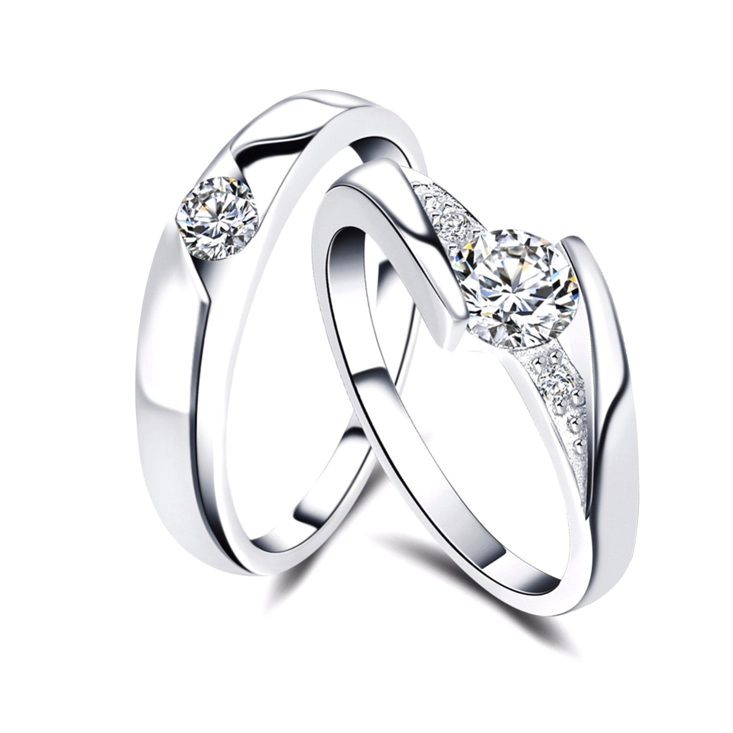 Slyq Jewelry Zircon Couple RingSet Engagement Silver Color eternity ring fashion rings size 10