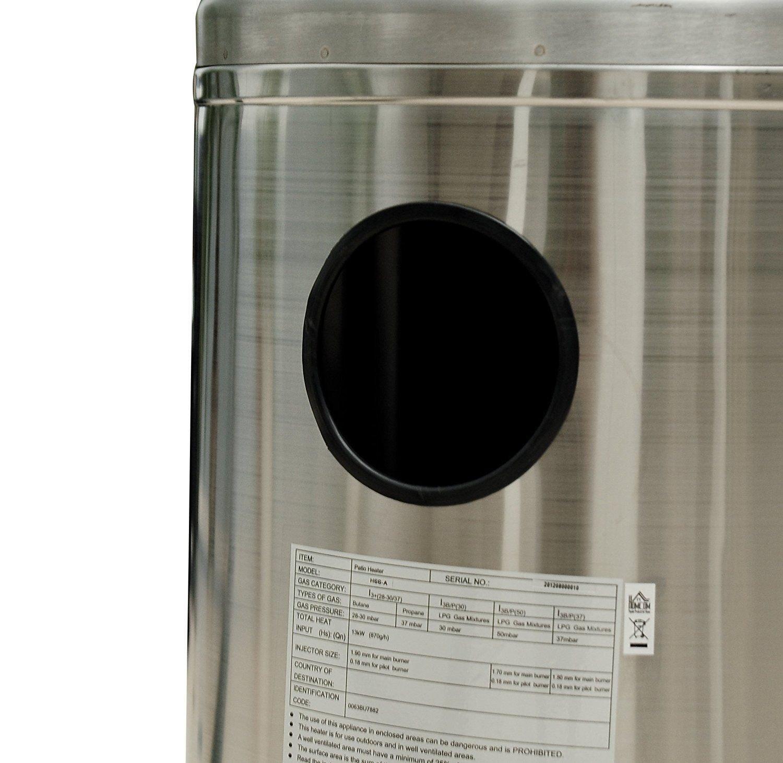 Outsunny Stufetta da Esterno Fungo a Gas in Acciaio Inox Patio Heater Riscaldamento
