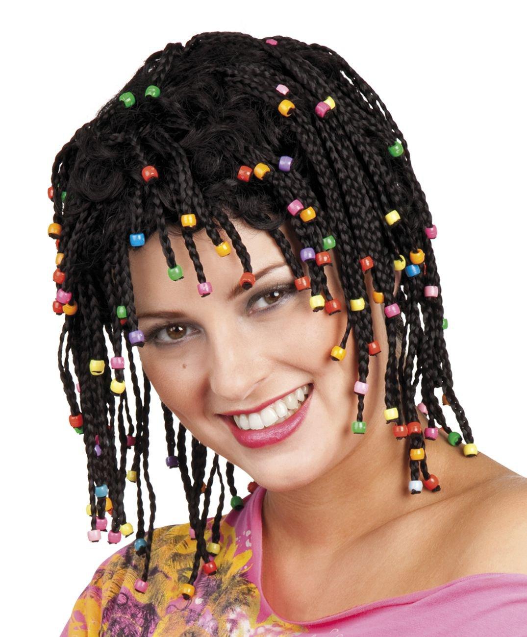 Générique pe151 - Peluca Rasta negro con perlas - talla única: Amazon.es: Juguetes y juegos