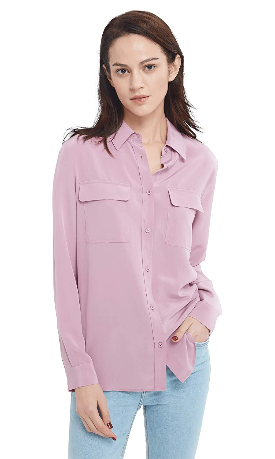 Pale purplec LilySilk Women's Silk Shirt 18 Momme Long Sleeves 100% Pure Silk Blouse Tops