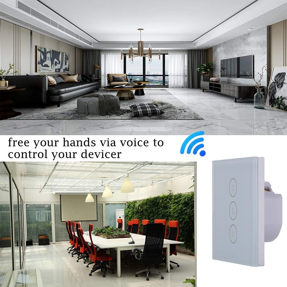 Interrupteur tactile sans fil Wi-Fi avec /écran tactile et lumi/ère LED EU Standard Compatible avec Alexa ou Google Home Blanc