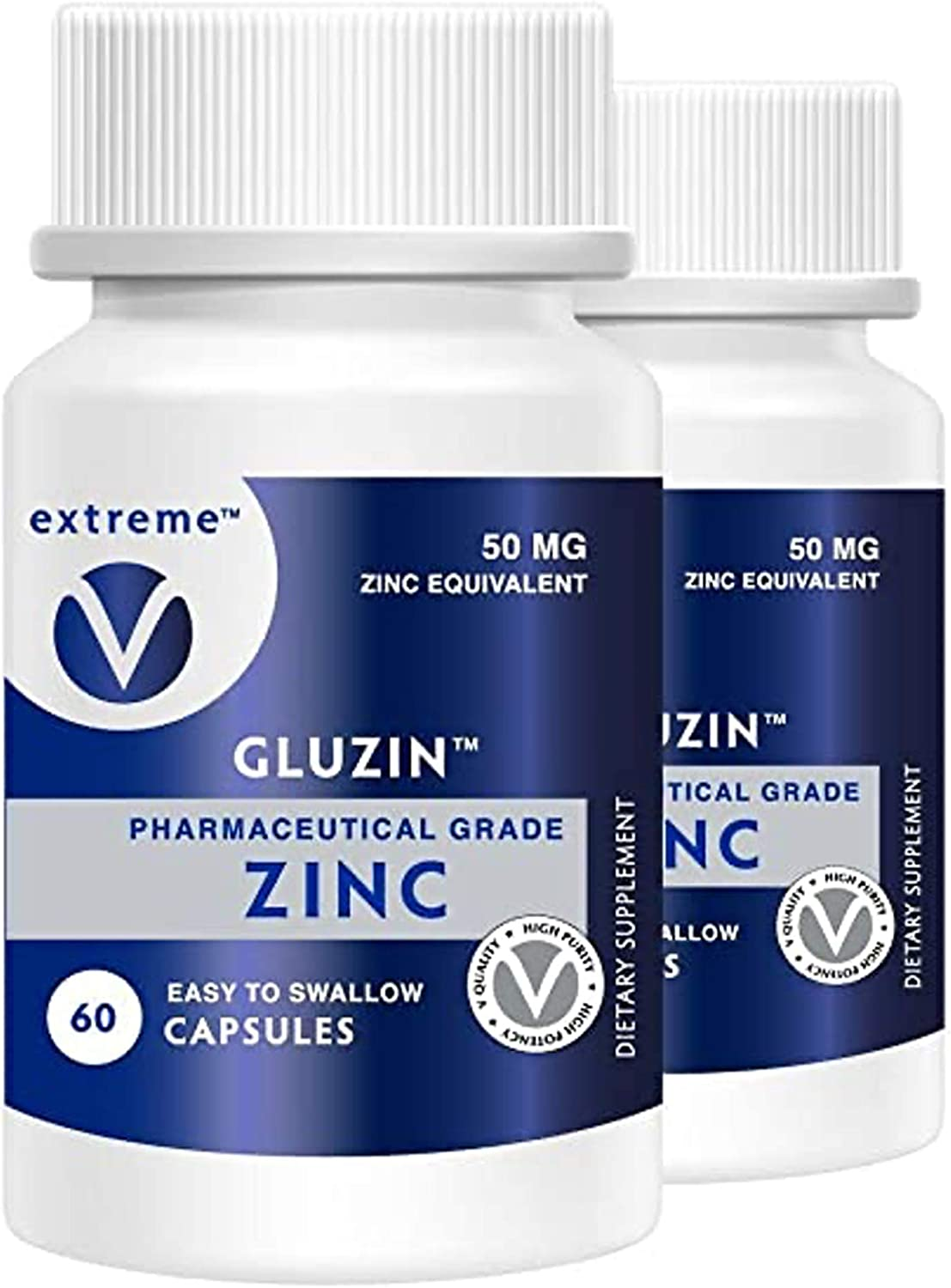 Gluzin 50MG Pharmaceutical Grade Zinc Frontline Defense Vegan Friendly – 2 Bottles (120 Vegetarian Capsules)