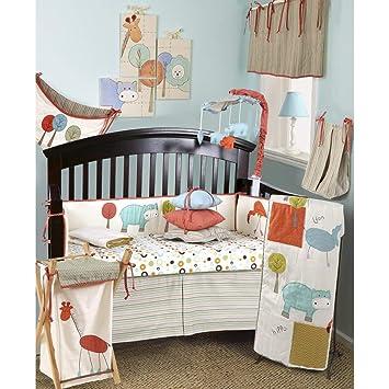 7 piezas bebé Color blanco naranja verde de la selva para cuna juego de cama, ...