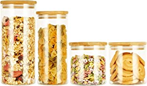 SXUDA Glass Food Storage Jars Containers with Airtight Bamboo Lids,High Borosilicate Glass Kitchen Canisters For Coffee, Flour, Sugar, Candy, Cookie, Spice and More,Set of 4(22x2/36/55oz)