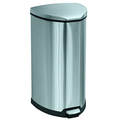 Safco Products 9687SS Stainless Step On Trash Can, 10 Gallon, Stainless  Steel