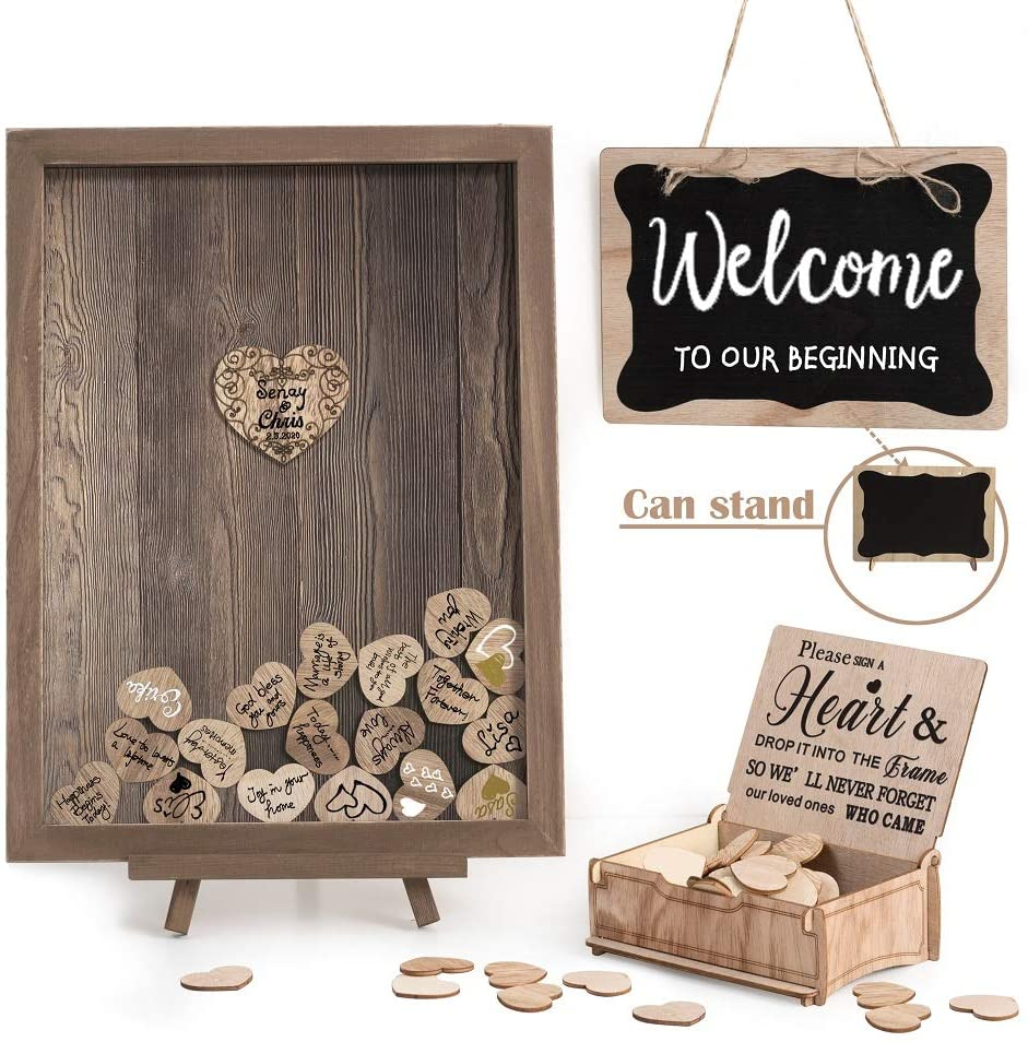 Y&K Homish Wedding Guest Book Personalized Alternative, Drop Top Frame Sign Book with 80pcs Wooden Hearts, Rustic Wedding Decorations and Baby Shower (Brown)