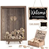 Y&K Homish Wedding Guest Book Personalized Alternative, Drop Top Frame Sign Book with 80pcs Wooden Hearts, Rustic…