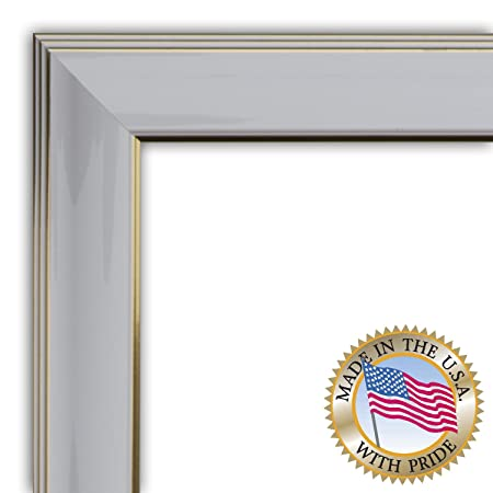 18x22 / 18 x 22 Picture Frame Shiny White with Gold Trim Diploma ...
